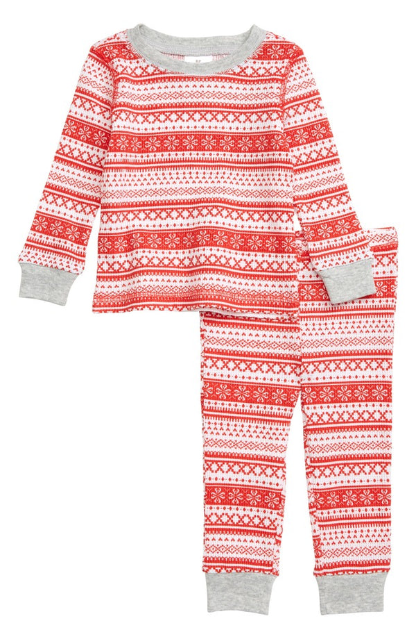 Rachel Parcell Supersoft and Cozy Thermal Fitted Two-Piece Pajamas, Keep Your Boy Nights Warm and Dreams Sweet, Medium 12 Inches-18 Inches, Red