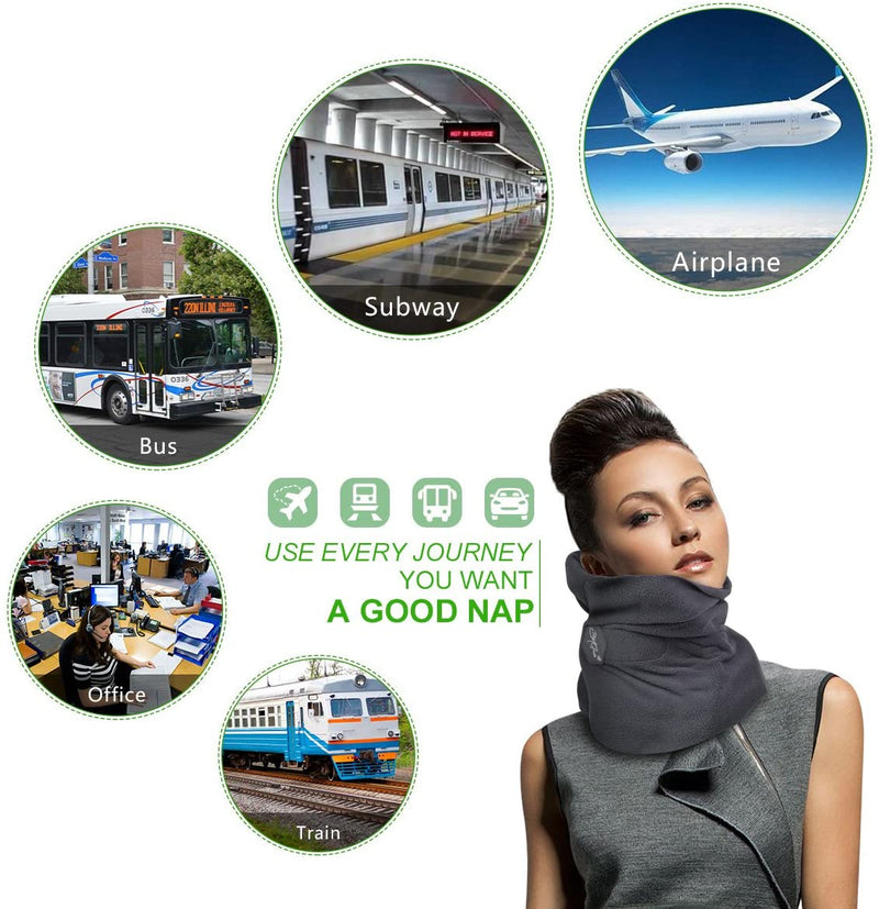 "Renewgoo Travel Pillow with Soft Lightweight Neck Support, Perfectly Formulated To Provide Neck and Head Support 7.5"" x 9"" - Machine Washable, Gray"