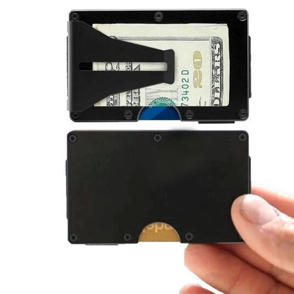 Ultra-Slim Front Pocket Wallet with Wireless Theft Protection, Minimalist Card Money Clip Holder/Travel for up to 12 Credit Cards, Black Aluminum, Blue, Silver, or Gunmetal