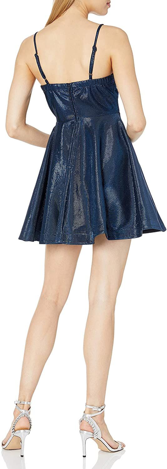 Speechless Sleeveless Women's Fit and Flare Party Dress with Peek-a-Boo Bodice, 7, Navy
