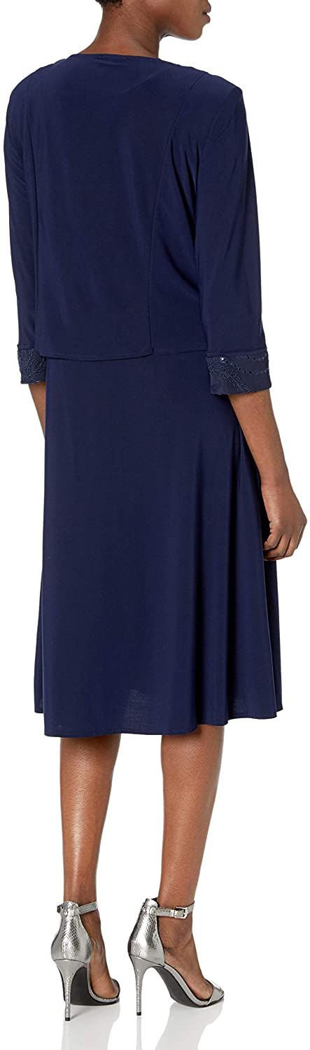 Le Bos Women's Embroidered Body and Trim Jacket Zipper Closure Flare Dress, 18, Navy