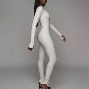 Woman Fitness Sporty Long Sleeves Bodycon Tracksuit