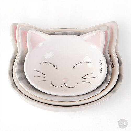 Ceramic Kitty Cat Measuring Cups
