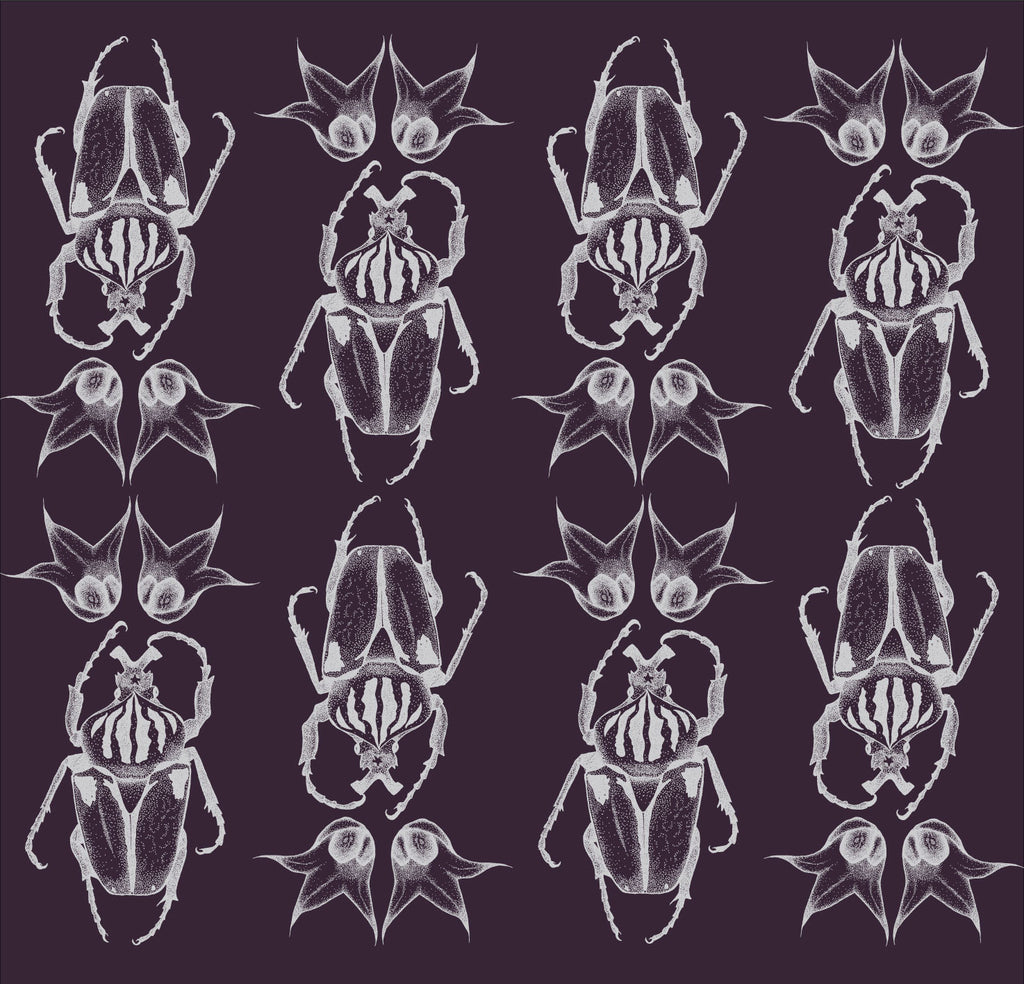 Silver illustrated beetle pattern wallpaper on a royal purple background