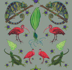 Bright chameleon, scarlet ibis and flamingos adorn this wall hanging with tropical foliage surrounding the creatures