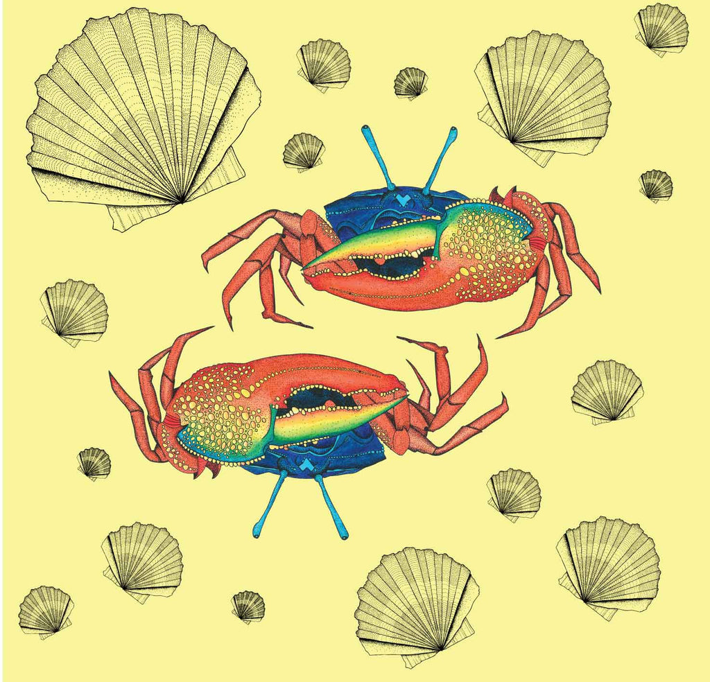 A unique illustrated crab print wallpaper showing fiddler crabs on a light yellow background with pretty shells