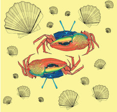 Wall hanging with bright crabs and shells on a light yellow background from illustrator Wilful Ink
