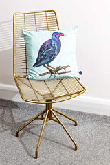 Mint Bird Velvet Cushion