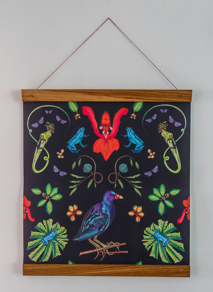 Retro wall hanging with Wilful Ink's Gallinule illustration print showing the purple bird amongst pitcher plants and tropical frogs