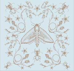 Illustrated butterfly moth wall hanging with a light blue background
