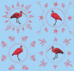 A wall hanging with illustrated flamingos and scarlet ibis birds in pinks and reds on a light blue background