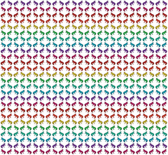 Tropical frog fabric in rainbow colours showing frogs back to back and facing each other on a white background