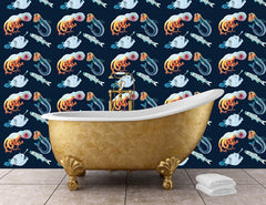 An example of illustrated deep sea creature wallpaper in a bathroom, with patterned sea creatures including angler fish and an octopus