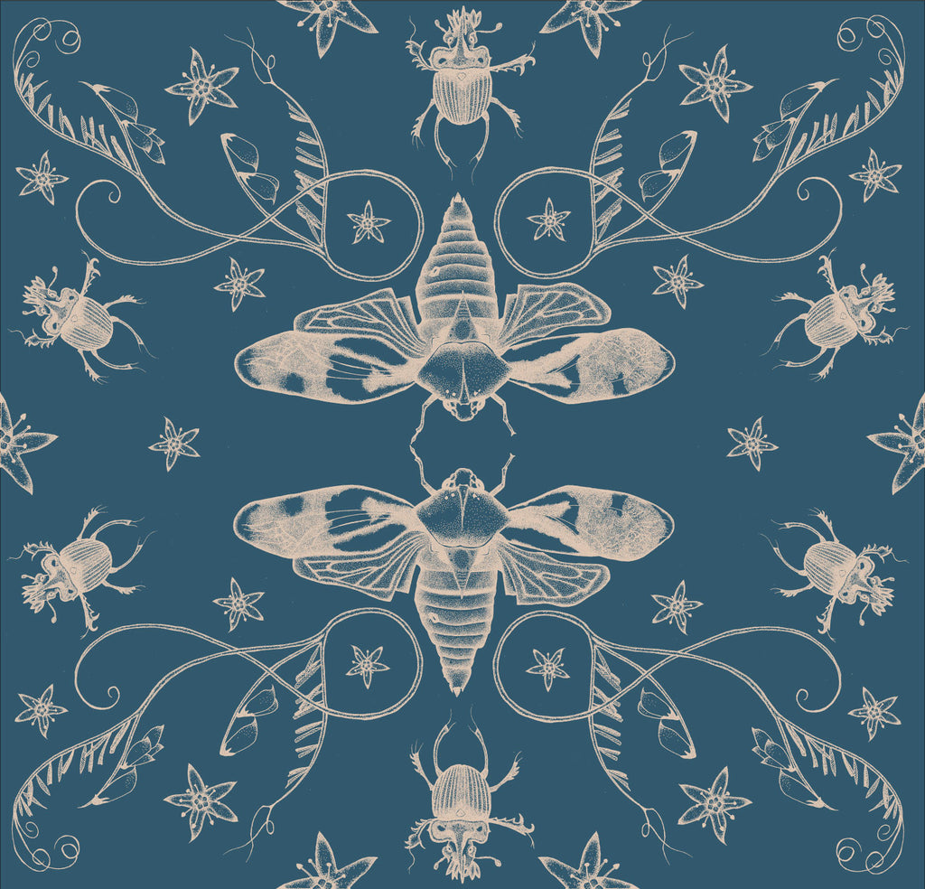A beautiful illustrated entomology wallpaper showing cicadas in silver facing each other in a pattern with beetles and other insects