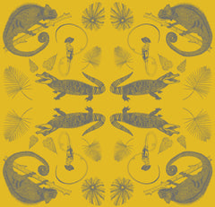 Example of the crocodile illustration print for the retro wall hanging by Wilful Ink, showing patterned crocodiles and chameleons on a mustard yellow background