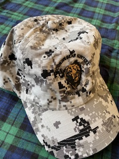 Camo Hat with Bear Face and Wisconsin Bear Hunters Association Circle Logo