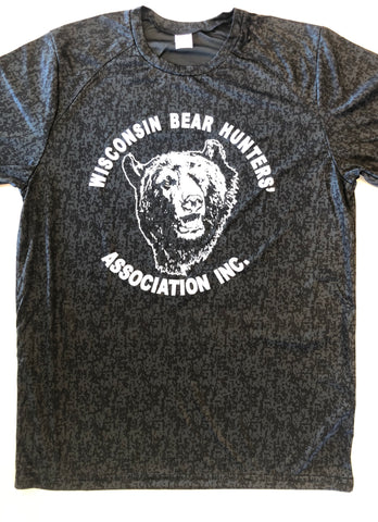 Adult Digi Camo T-Shirt ST460 in Black with Bear Head Logo in White