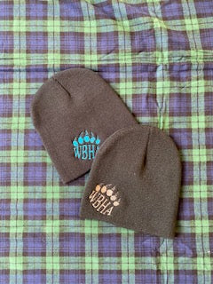 Black Winter Beanie with WBHA Logo and Paw Print in Blue or Brown