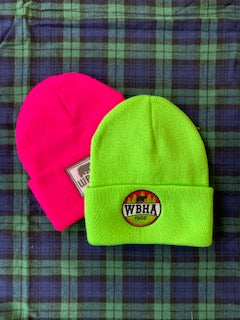 Neon Green Winter Hat with Circle Bear Logo