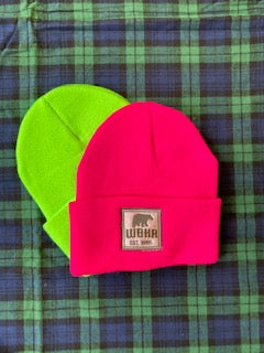Neon Pink Stocking Hat with Square Logo