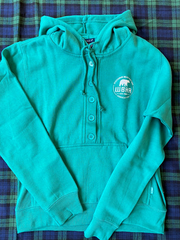 Adult Sweatshirt Enza Ladies 5 Button Sweatshirt EZ345 Teal with Logo Emb. on Left Chest in White