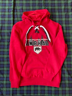 Adult Sweatshirt Sport Tek Lace Hoody Red with Black and White Laces with Tree Logo with HT Applique Letters of WBHA