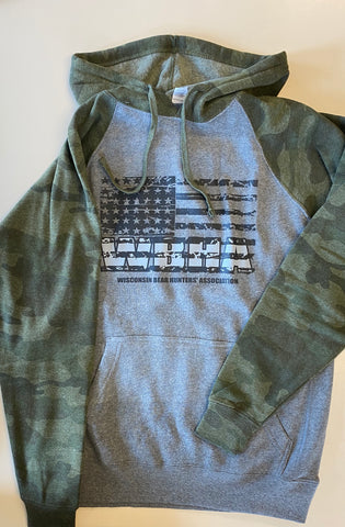 Adult Sweatshirt Independent Trading PRM335BP Nickel Heather/Forest Camo with Flag Full Front Logo in Black