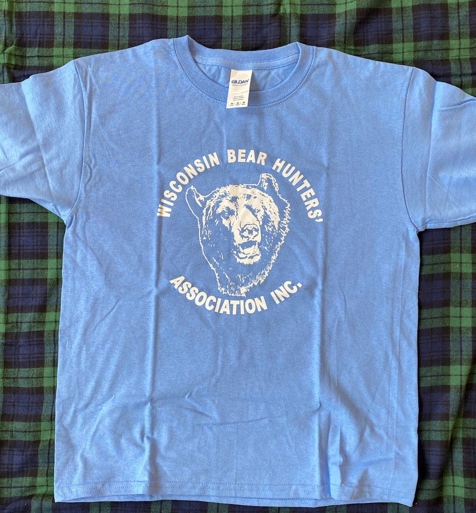 Gildan 2000B Caralina Blue Youth T-Shirt with White Bear Head Logo Full Front