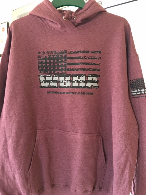 Port and company PC78H Athletic Heather Maroon hooded sweatshirt.  Flag logo on front and on left sleeve