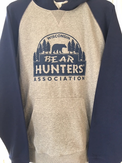 Sport-tek ST267 Raglan sleeved hooded sweatshirt in Navy Blue.  Silk screened Bear Hunter logo with pine trees in navy