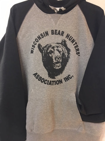 Sport-tek ST267  Raglan hooded sweatshirt in grey with black sleeves.  Original Bear Hunters' logo on front in black.