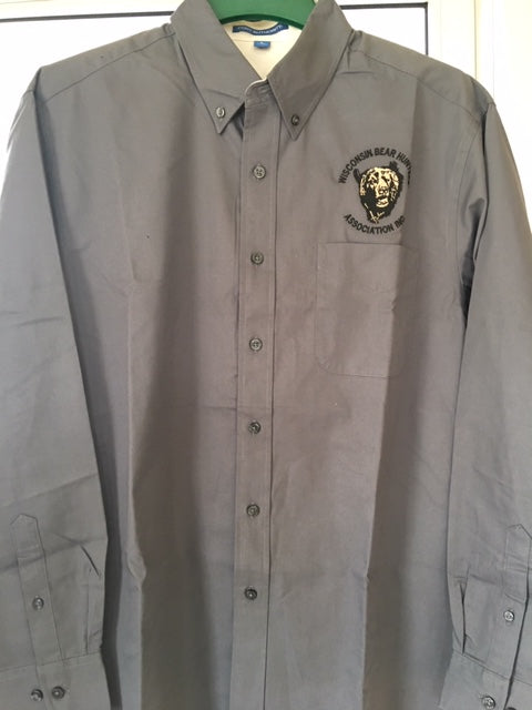 Steel grey button down twill shirt with embroidered original logo above left chest pocket