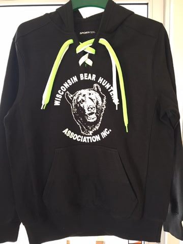 Sport-tek Lace up hoody St271 in black.  Original Bear head logo on front in white.  Laces are white and neon green