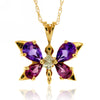 10k Yellow Gold Multi Gem Necklace/Pendants