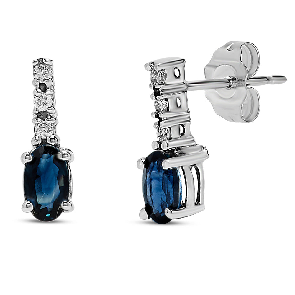 10k White Gold Sapphire Earrings