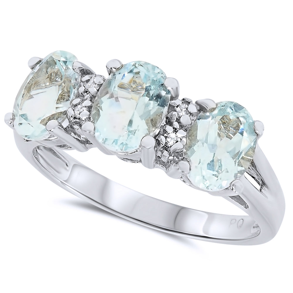 10k White Gold Aquamarine Rings