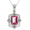 10k  Gold White Pink Topaz  Necklace/Pendants