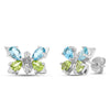 10k White Gold Multi Gem Earrings