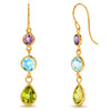 10k Yellow Gold Multi Gem Earrings
