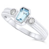 14k White Gold Aquamarine Rings