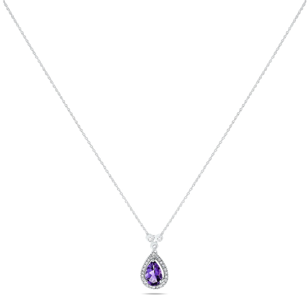 10k White Gold Amethyst Necklace/Pendants