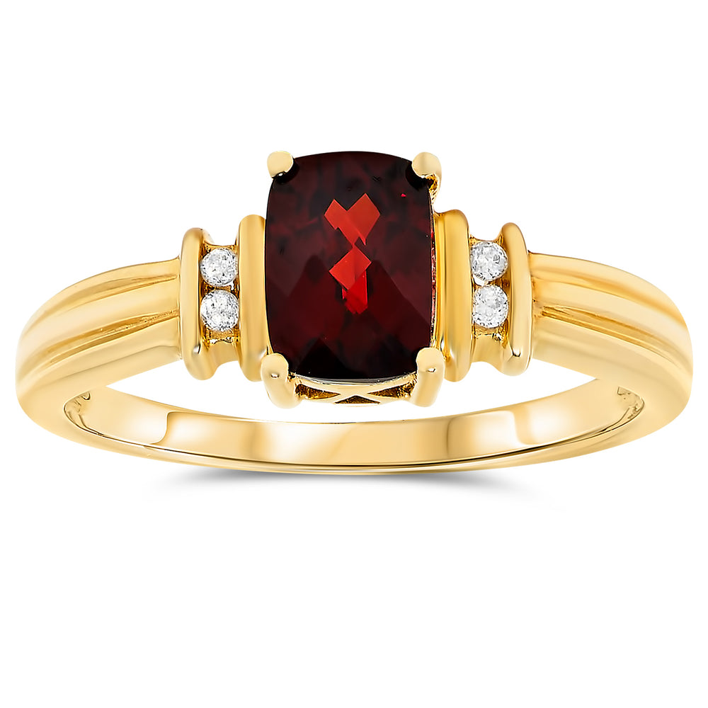 14k Yellow Gold Garnet Rings