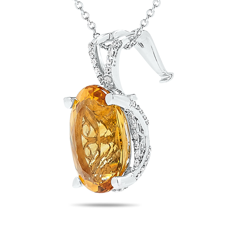 14k White Gold Citrine Necklace/Pendants
