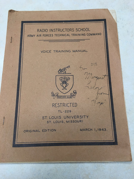 1943 WW2 Army Air Forces Voice Training Manual