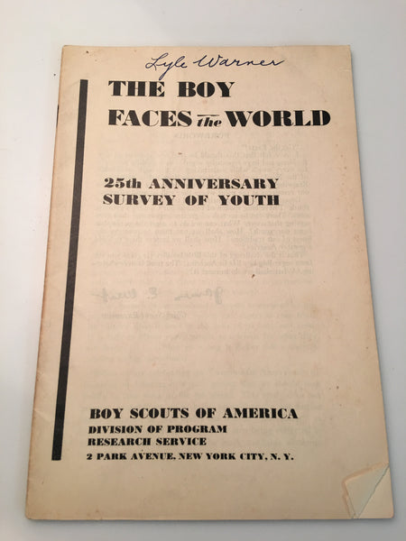 1936 The Boy Faces the World 25th Anniversary Survey of Youth Pamphlet