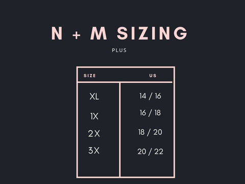 North and Main Plus Size Women's Chart