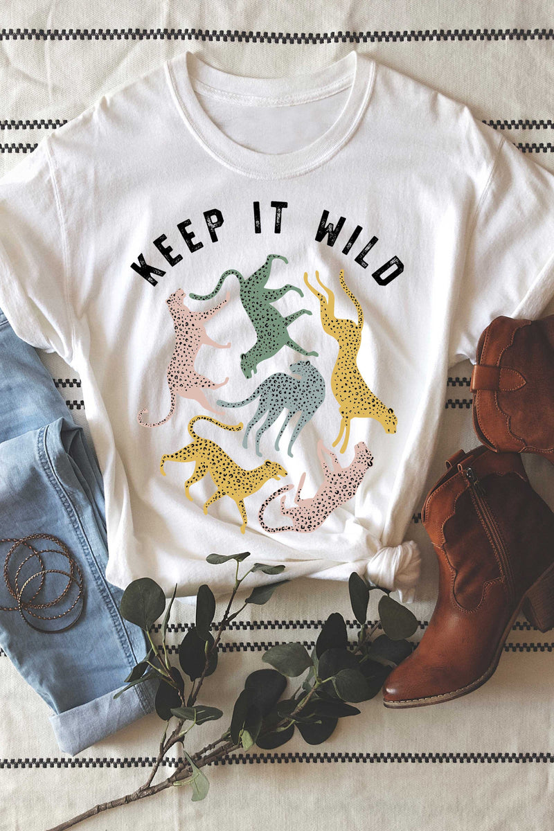 Keep It Wild Leopard Graphic Tee, White