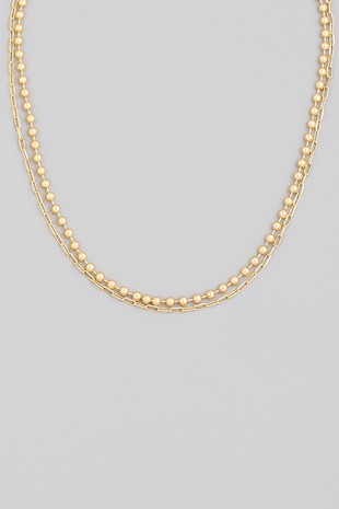 Elsie Layered Ball Chain Necklace, Gold
