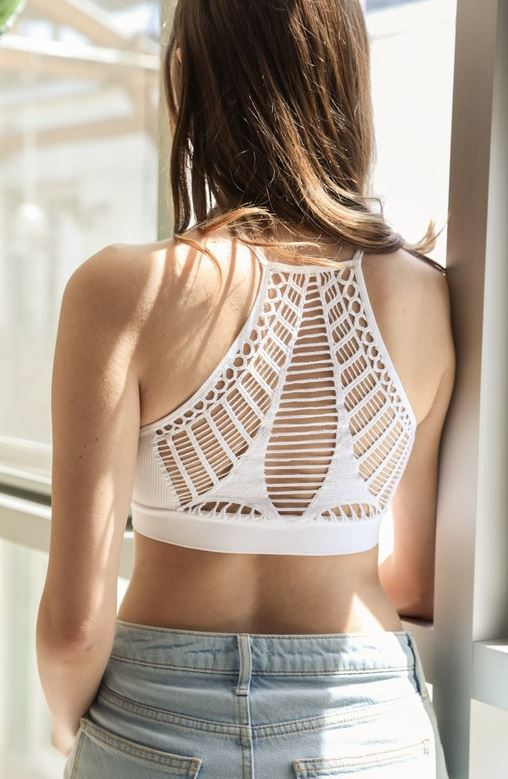 Adelle Seamless Slash Back Bralette, White