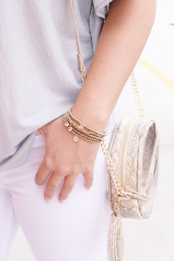 Bead Layered Bracelet, Natural | Fashion Jewelry